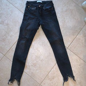 Zara Black Jeans with ripped bottoms
